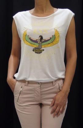 Camiseta Rock blanca amarilla.