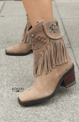 BOTIN FLECOS Y REMACHES TAUPE