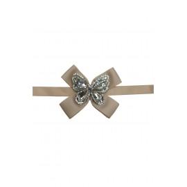 Cinturón lazo mariposa beige.
